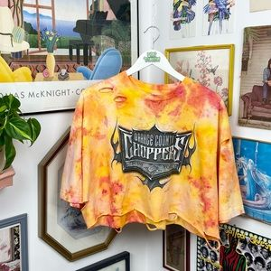 Vintage Y2K 2004 Orange County Choppers Cropped Distressed T-Shirt
